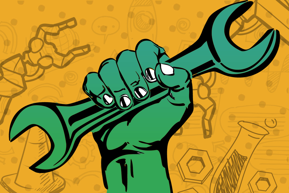 Comic book hand holding wrench of industry illustration