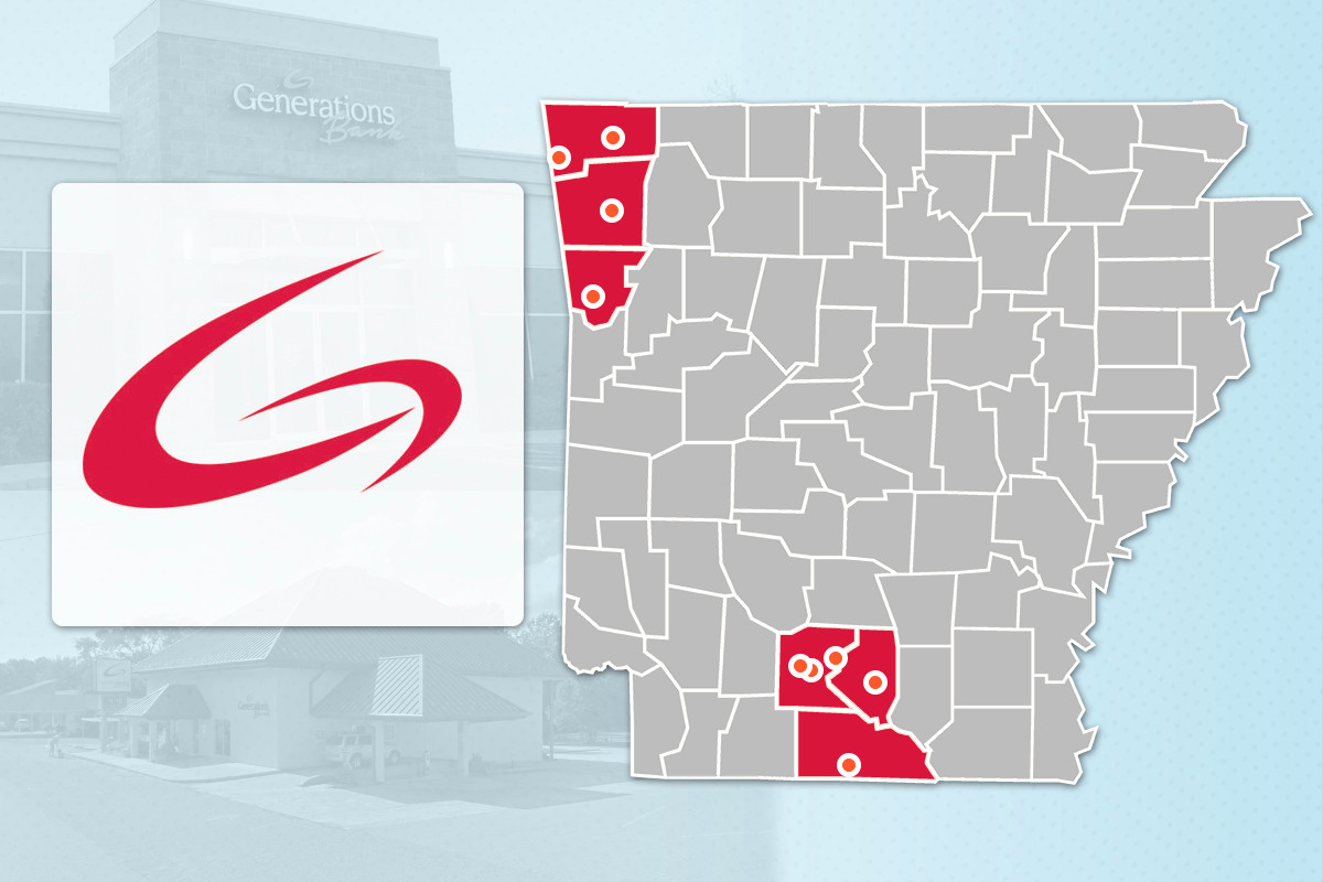 Generations Bank currently has nine branches in six Arkansas counties, with a 10th location planned for Bentonville.