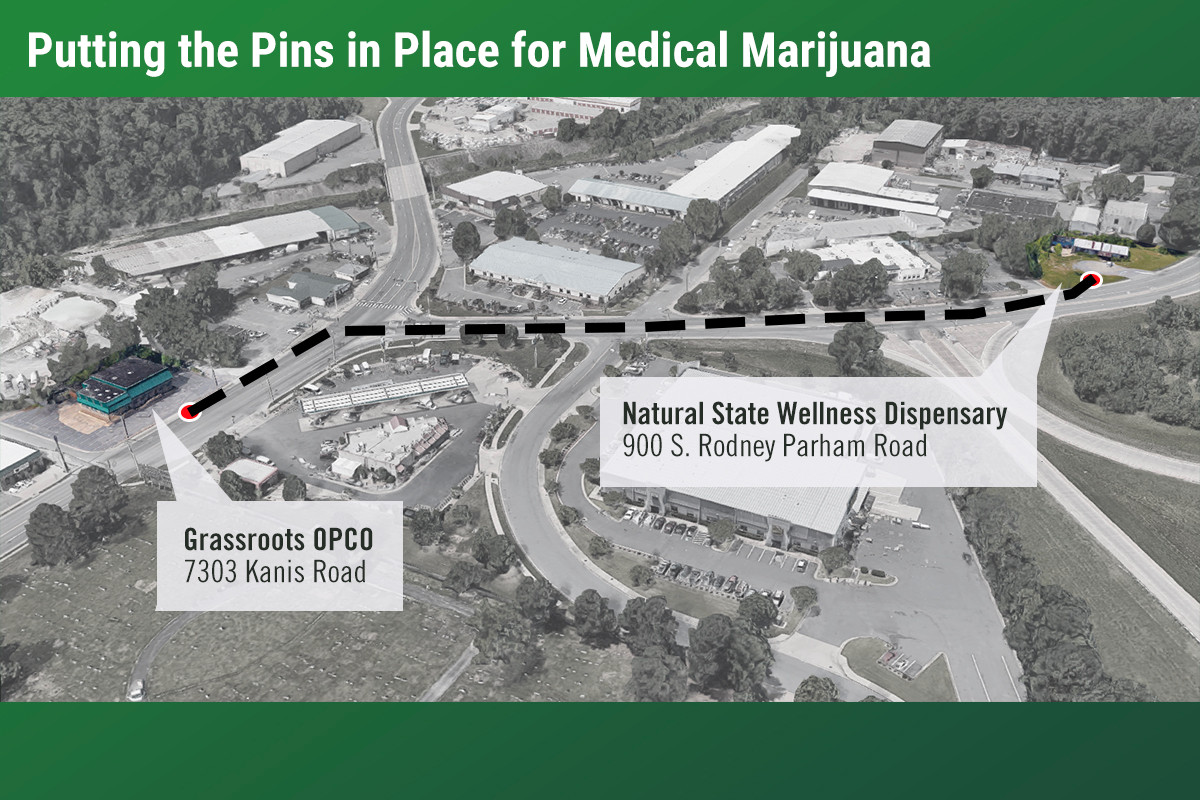 Two dispensaries in midtown Little Rock, Grassroots OPCO and Natural State Wellness, will sit about 1,100 feet from each other.