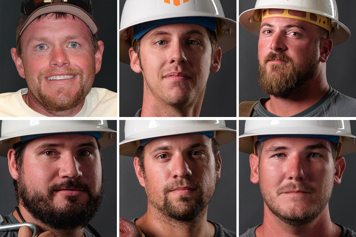 Clockwise from top left: Brent Fason, Si Anthony, Lance Heer, Trey Brown, Paul Langley and Kaleb Barkley of Conway Corp.