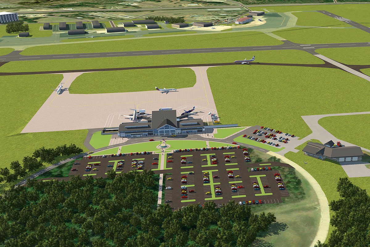 Rendering of the future terminal and upgrades in motion at the Texarkana Regional Airport. The current airport is situated at the top.