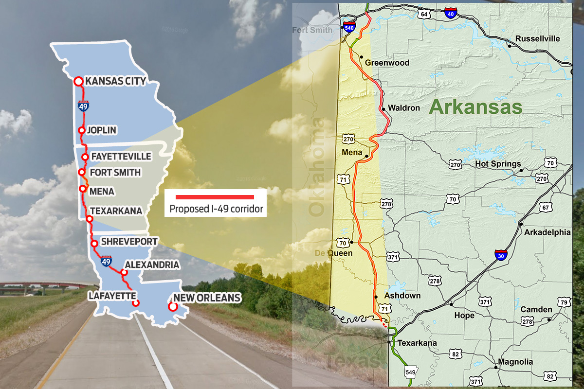 Currently, the only sections of I-49 completed between I-30 and I-40 are five miles in Texarkana and a six-mile stretch southwest of Barling. The elevation between the two points ranges from 350 feet above sea level to well over 2,000 feet in the Ouachita Mountains.