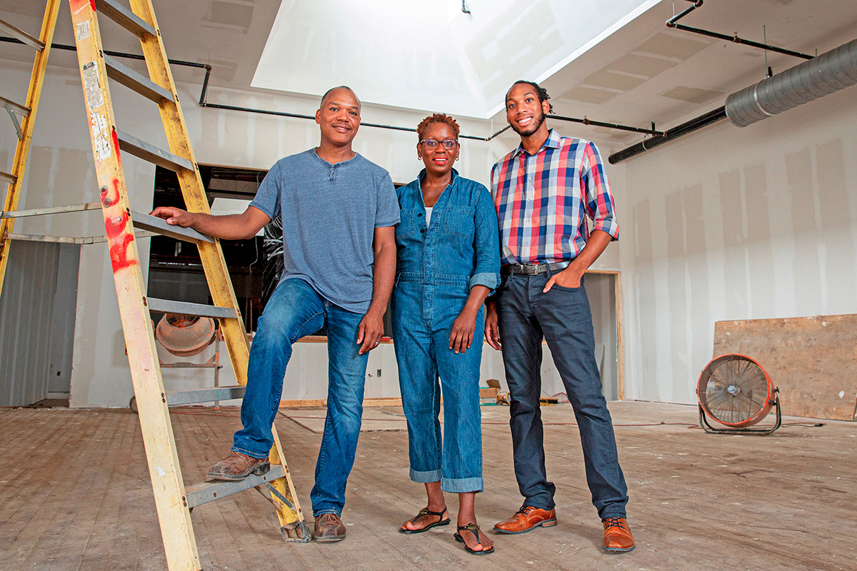 From left, Harvey Williams Jr., his wife, Donna, and their son, Thomas, are building Delta Dirt Distillery in historic Helena-West Helena.