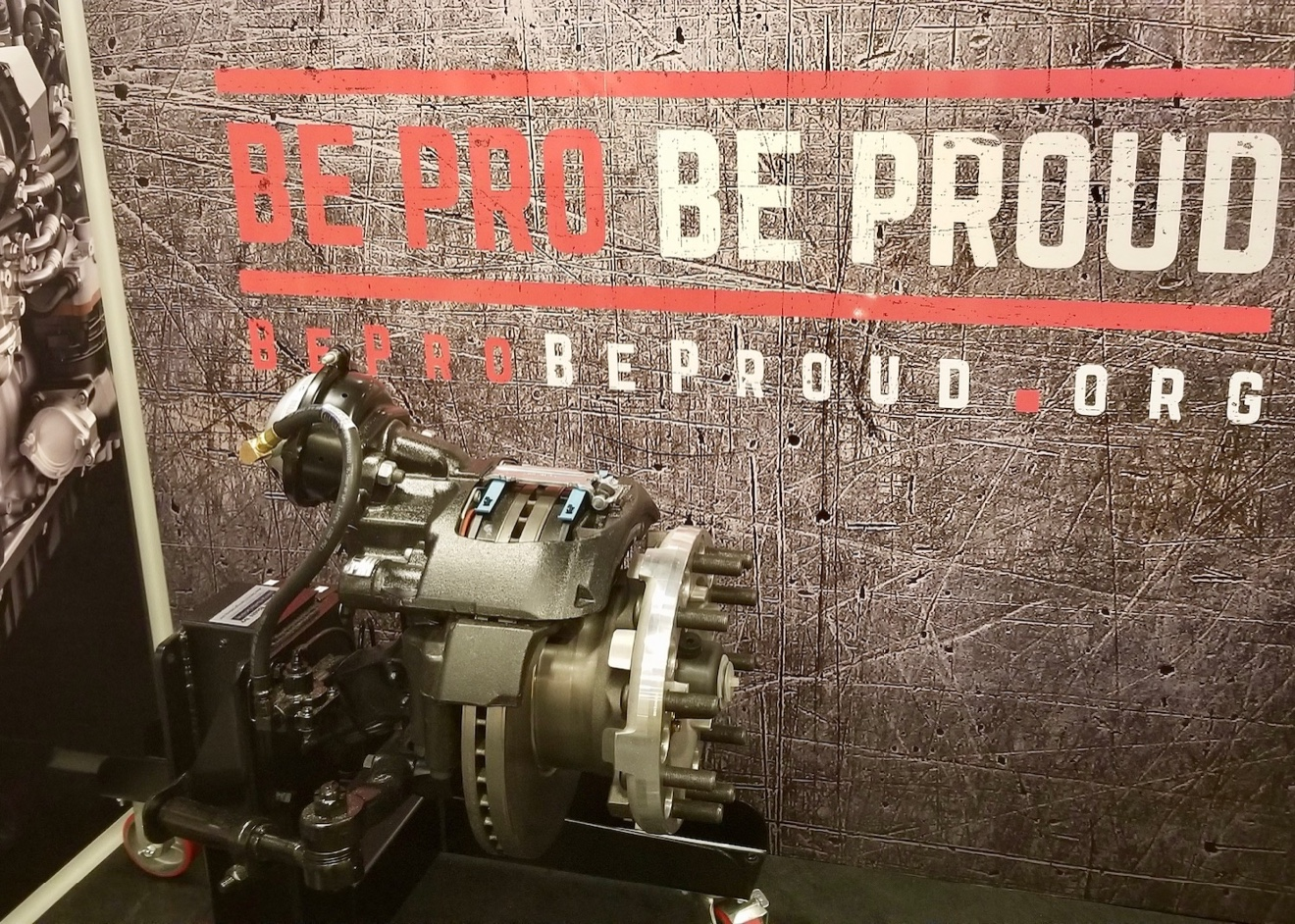 An engine is on display at the diesel tech station inside the new Be Pro Be Proud workshop.