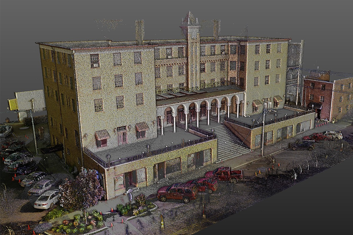 This point cloud LiDAR image of the Lane Hotel was composed from millions of scanned points.