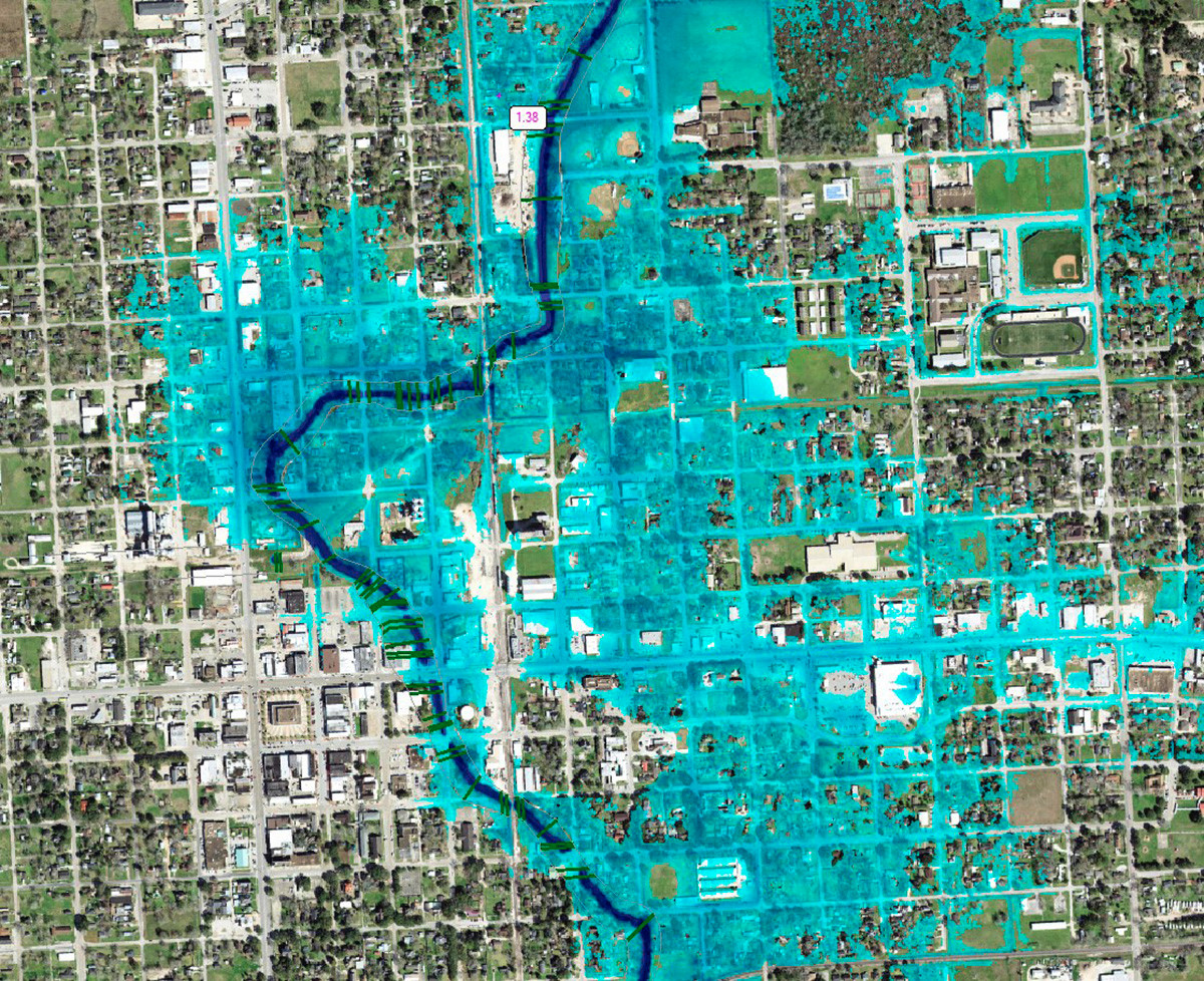 A depth aerial is an example of 2D inundation mapping.