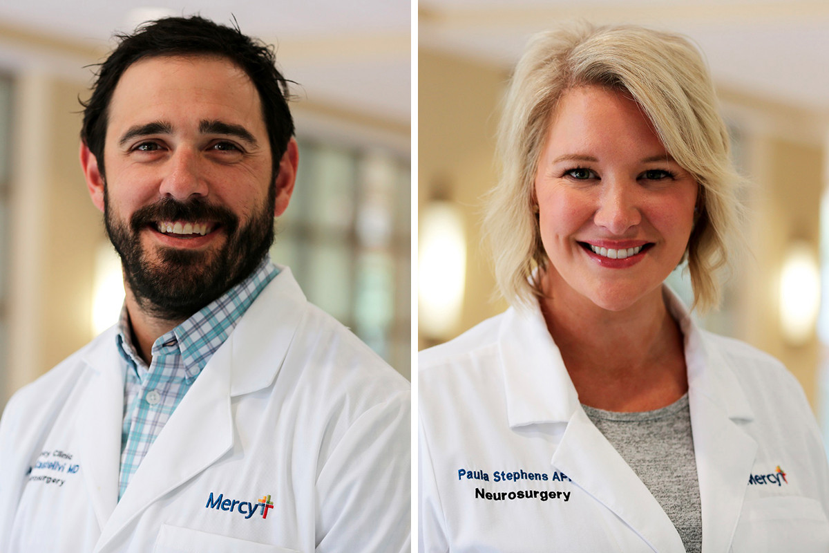 Dr. Alejandro Castellvi  and Paula Stephens of Mercy Clinic Neurosurgery in Rogers.