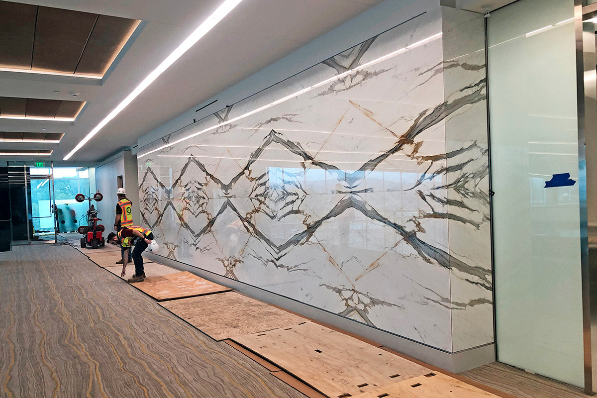 Creative cuts of polished marble from South America, Asia and Europe are displayed as natural art pieces.