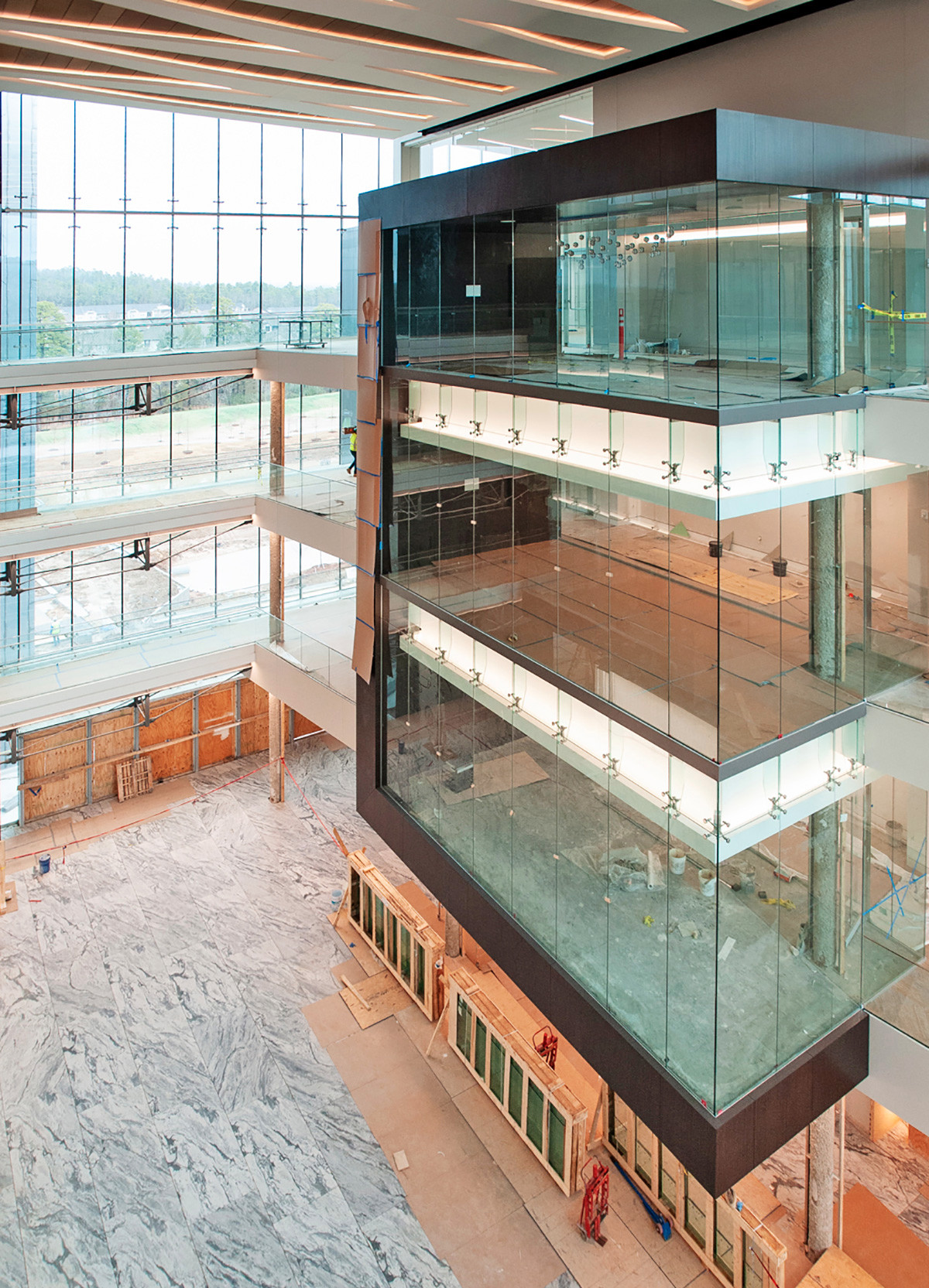 The new Bank OZK headquarters will feature nine conference rooms overlooking its expansive atrium and space awash in natural lighting.