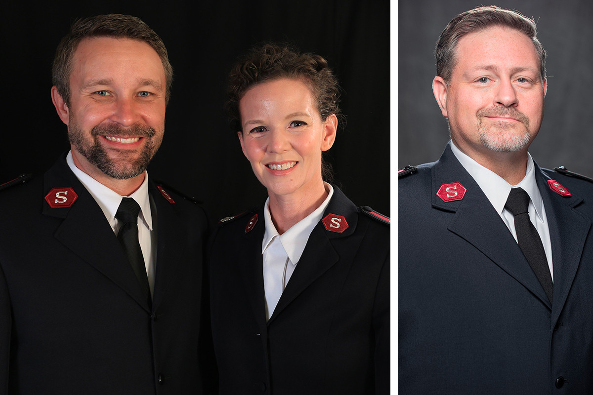 Bill Mockabee, Stephanie Mockabee and Timothy Morrison of the Salvation Army Central Arkansas Area Command in Little Rock.