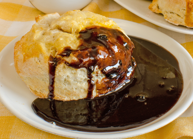 Chocolate gravy , made from flour, butter, sugar and cocoa powder, is ...