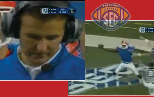 For a second there, Florida head coach Urban Meyer almost looked worried in the 2006 SEC Championship Game. That feeling didn't last long, needless to say.