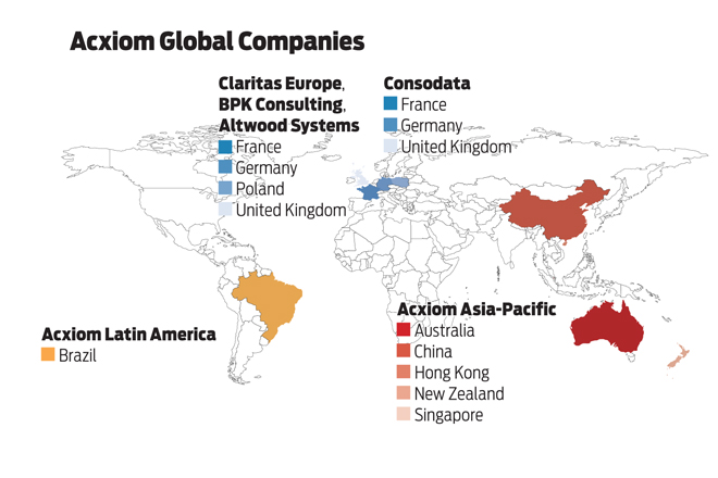 Map acxiom reaches across the globe arkansas business news s big overseas adventures began in january 2004 with the 40 million purchase of claritas operations in england france germany the netherlands spain gumiabroncs Choice Image