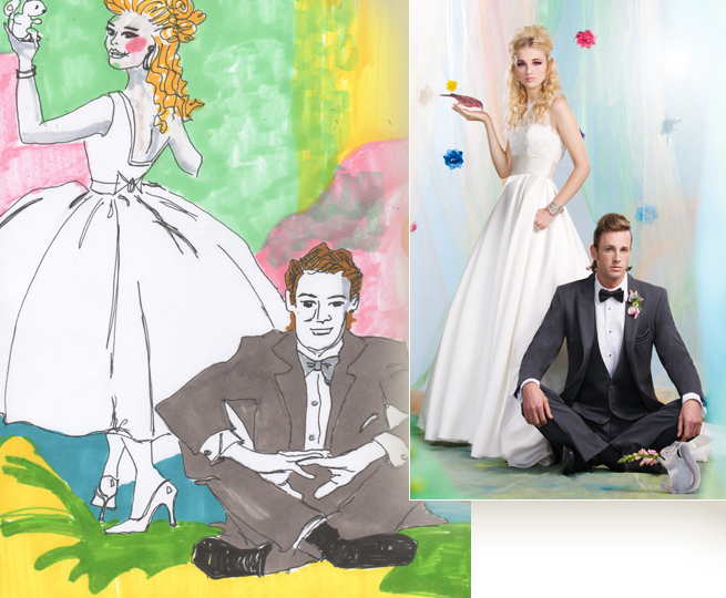 Bride and Groom Sketch, arkansas bride, spring/summer 2013, inspiration sketch, mitchell crisp