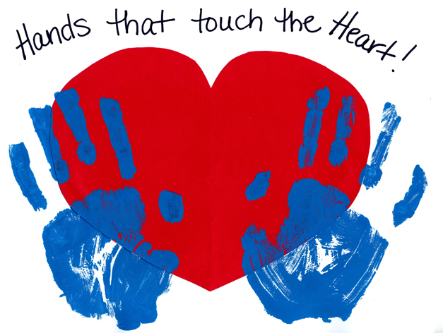 hands that touch the heart children's painting