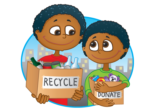 Recycle donate boxes cartoon family