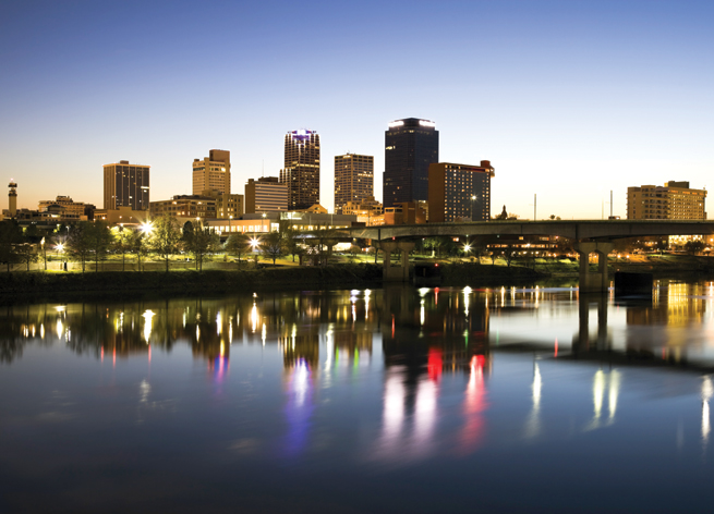 Little Rock Downtown Skyline Buildings Arkansas River Main Street Bridge Riverfront Park night