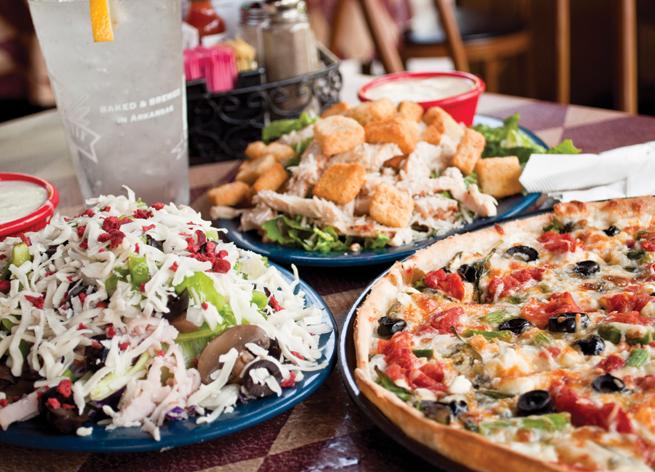 US Pizza salad table restaurant