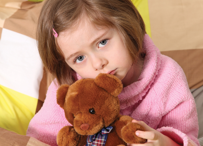 sick child girl teddy bear