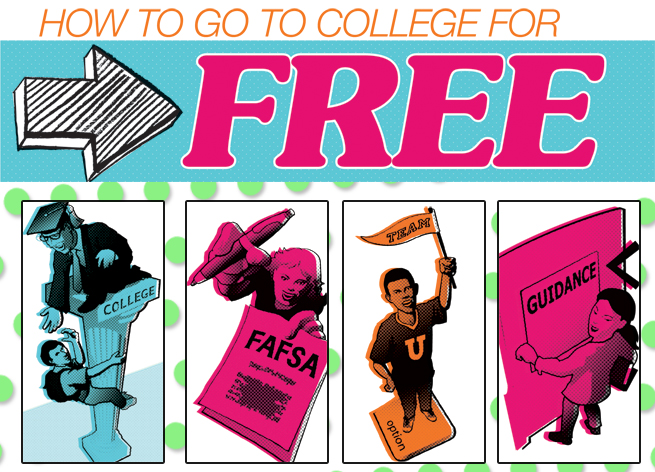 How to Go to College for Free clip art illustration