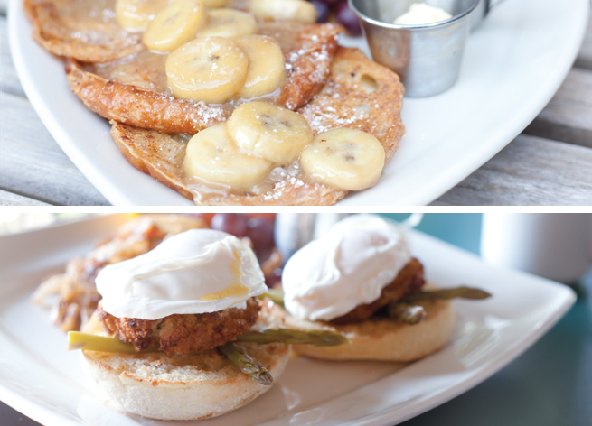 Loca Luna's French toast croissants and crab cake Benedict