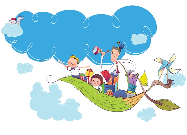 adventure, kids, flying, telescope, illustration