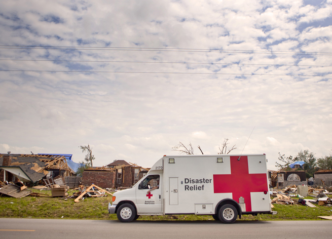 American Red Cross Disaster Relief Vehicle Tornado damage