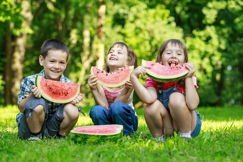 watermelon, kids eating watermelon