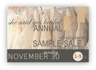 She Said Yes Hosting Giant Annual Sample Sale