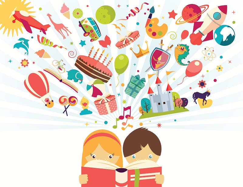 Children reading book, imagination, stories illustrated, illustration