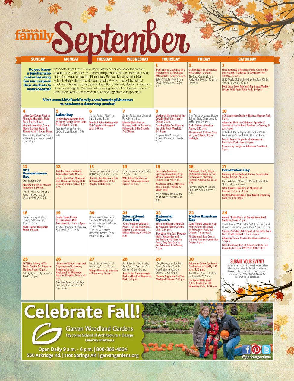 Event Calendar 2016 : Little rock family s september event calendar