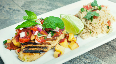 Recipe: Citrus Grilled Chicken with Peach Pico and Baja Rice from Chef Craig Roe