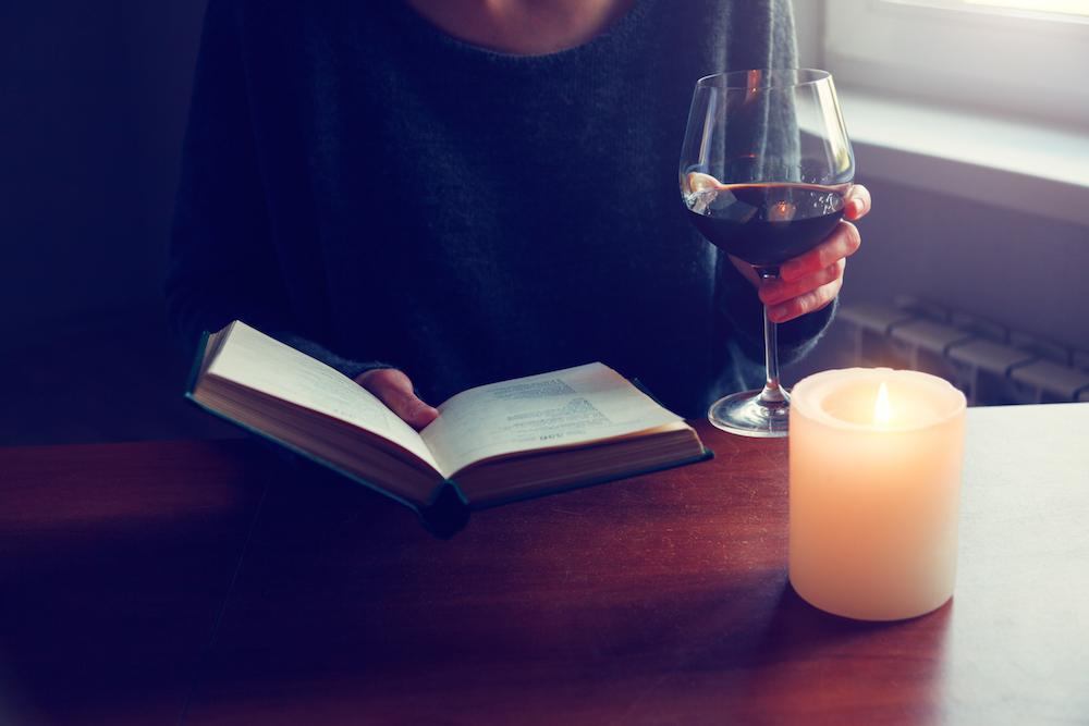reading, books, wine