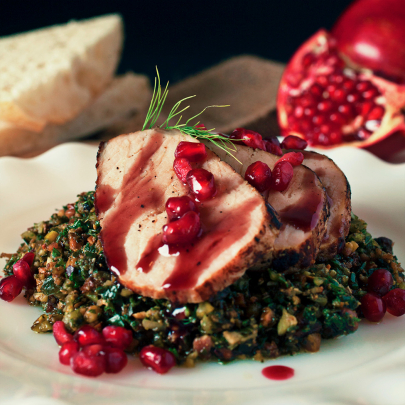 Recipe: Roasted Pork Loin with Pomegranate Reduction from Chef Amanda Ivy