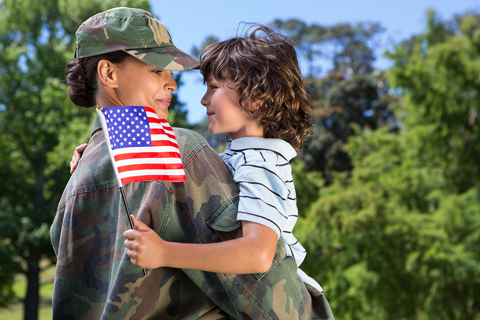 Soldier Child Military Mom Vet American flag shutterstock